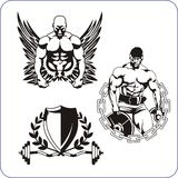 Bodybuilding and Fitness - vector illustration. Royalty Free Stock Photo
