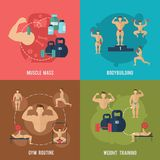 Bodybuilding Flat Set Royalty Free Stock Photography