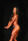 Bodybuilding Gal Sports Ripped Physique en Kuiltjes Royalty-vrije Stock Foto