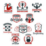 Bodybuilding gym or powerlifting club vector icons. Gym icons for bodybuilding or powerlifting sport club. Vector isolated badges set of iron barbells or Stock Images