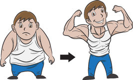 Bodybuilding. Hand drawn illustration of a man turn from fat to muscular Stock Photos