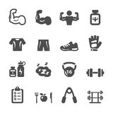 Bodybuilding healthy and fitness icon set, vector eps10 Stock Photos
