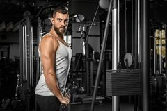 bodybuilding Homem farpado que está o pulldown reto doingcable do braço no gym que olha a câmera segura imagem de stock royalty free