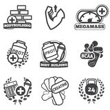 Bodybuilding icons set Stock Image