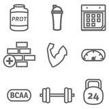 Bodybuilding icons set Stock Photography