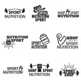 Bodybuilding icons set Royalty Free Stock Images