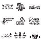 Bodybuilding ikony Ustawiać Obrazy Royalty Free