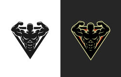 Bodybuilding, logo, two options. Bodybuilding logo two options Vector illustration royalty free illustration