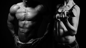 bodybuilding Mężczyzna i kobieta zdjęcia royalty free