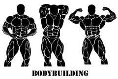 Bodybuilding, macht het opheffen concept in vlakke stijl op witte achtergrond Stock Foto's