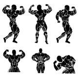 Bodybuilding makt som lyfter, strongman, idrottshall, kondition, vektorillustration i plan design Arkivbild