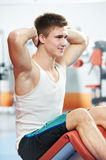 Bodybuilding man at abdominal crunch exercises Royalty Free Stock Images