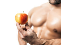 Bodybuilding man apple Stock Photo
