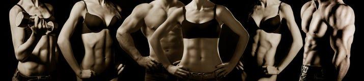 Bodybuilding. Man en vrouw Stock Foto
