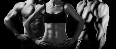 Bodybuilding. Man en vrouw Royalty-vrije Stock Foto's