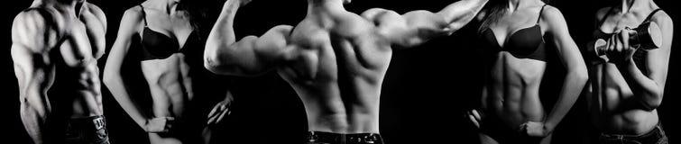 Bodybuilding. Man en vrouw Stock Afbeelding