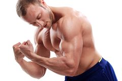 Bodybuilding. Man and his powerful body Royalty Free Stock Photo