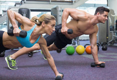 Bodybuilding man and woman holding dumbbells in plank position Stock Image