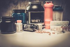 Bodybuilding nutrition. Supplements and chemistry royalty free stock photo