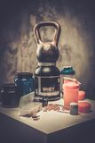 Bodybuilding nutrition. Supplements and chemistry Stock Photos