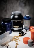 Bodybuilding nutrition supplements, chemistry Royalty Free Stock Photography
