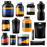 Bodybuilding nutrition vector branding fitness sport nutritional supplement with protein in branded bottle for. Bodybuilders illustration set isolated on white Royalty Free Stock Images