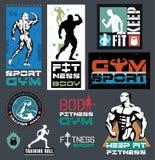 Bodybuilding- och konditionidrottshalllogoer, emblem Arkivfoto