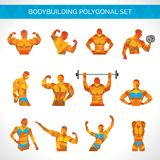 Bodybuilding Polygonal Icons Set Stock Photo
