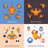 Bodybuilding Polygonal Set Stock Photography
