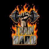 Bodybuilding motivation poster. Bodybuilding poster with dumbell in the fist and flame. Hot vector design royalty free illustration