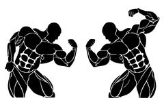 Bodybuilding and powerlifting concept, icon, set Royalty Free Stock Photos