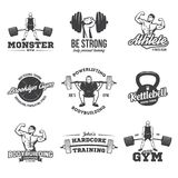 Bodybuilding, powerlifting, kettlebell, workout logotypes signs symbols. Fitness logos emblems design elements. Sports vector illustration