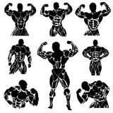 Bodybuilding, Powerlifting, vector, set. Vector illustration of set of bodybuilding icons stock illustration