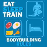 Bodybuilding rules concept, vector illustration Stock Images