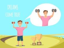 Bodybuilding s'exerçant debout d'enfant heureux extérieur illustration de vecteur
