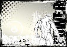 Bodybuilding sketching grunge background 2. Bodybuilding sketching grunge background in the s stock illustration