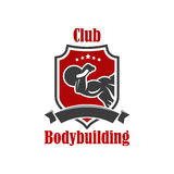 Bodybuilding sport club vector sign. Bodybuilding vector icon. Gym, sport club vector sign. Crossfit gym, fitness club isolated badge of muscleman, weightlifter stock illustration