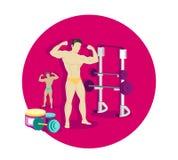 Bodybuilding Sport Concept Icon Flat Design Stock Photo
