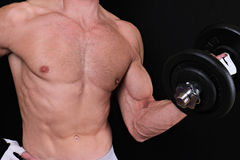 Bodybuilding, sport concept. Strong muscular man exercising with dumbbell Stock Photography
