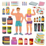 Bodybuilding sport food vector bodybuilders supplement proteine power and fitness diet nutrition for bodybuild workout. Illustration set of energy shakers for Royalty Free Stock Photo