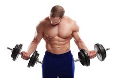 Bodybuilding. Strong man with a dumbbell Stock Photography