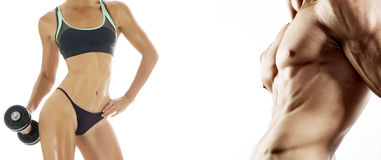 Bodybuilding. Strong man and a woman Royalty Free Stock Image