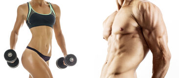 Bodybuilding. Strong man and a woman. Posing on a white background Stock Photography