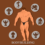 bodybuilding template, man with set of Icons. Vector illustration Stock Photos