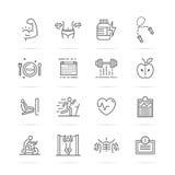 Bodybuilding vetor line icons Stock Photos