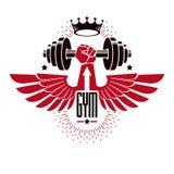 Bodybuilding weightlifting gym logotype sport club, retro styliz Stock Photo
