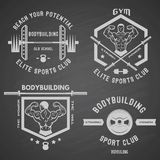 Bodybuilding white label set Royalty Free Stock Image
