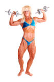 Bodybuilding woman. A blond muscular bodybuilding girl standing in the studio shooing her strong Stock Photos