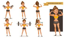 Bodybuilding woman. Set. many views of exercise. front, side, rear, body with muscles of beautiful cartoon. cute girl in a fitness suit. Strong lifestyle stock illustration