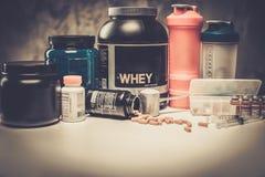 Bodybuildingnäringtillägg, kemi Arkivfoto